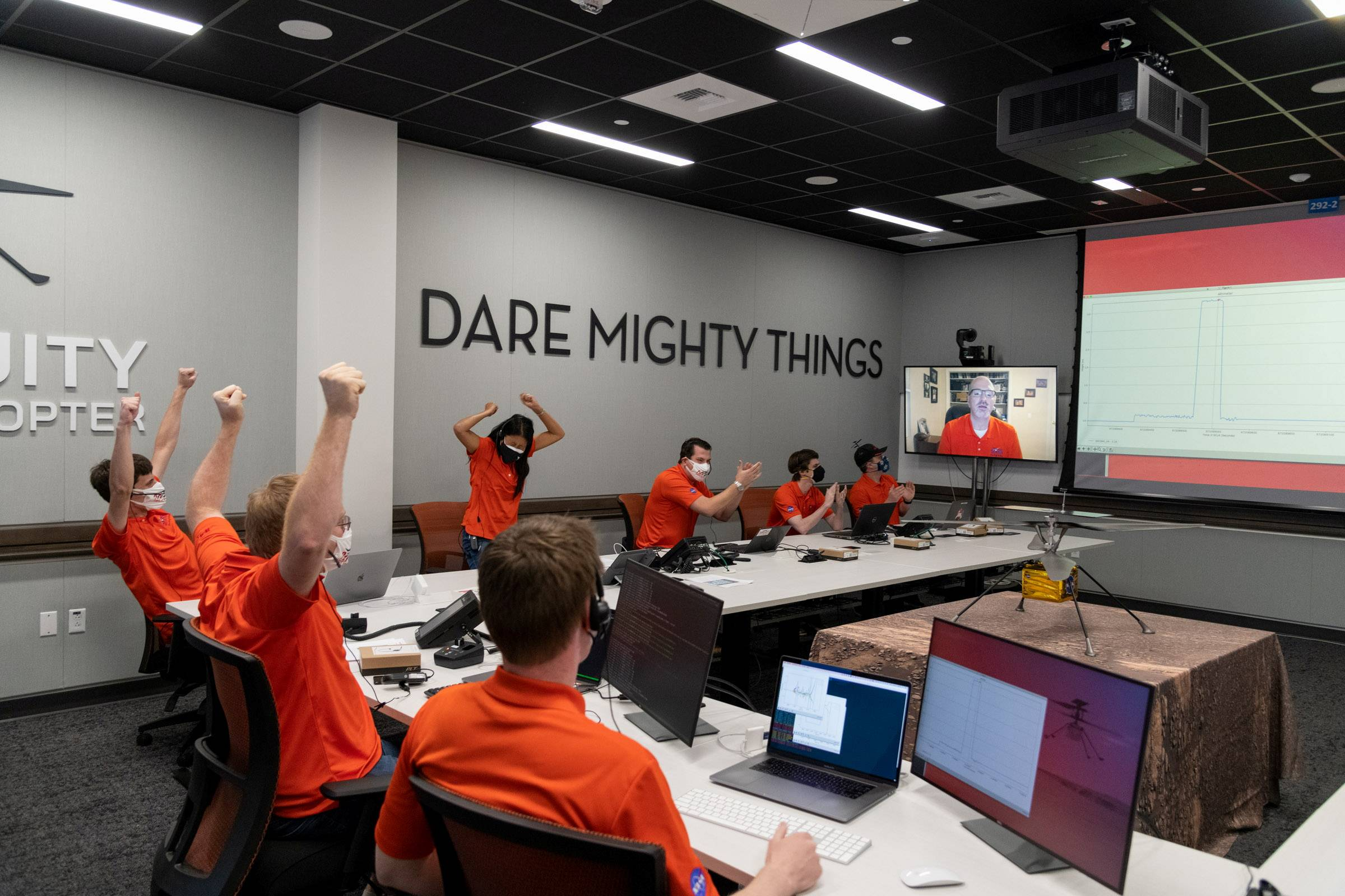 Members of NASA's Ingenuity helicopter team in the Space Flight Operations Facility at NASA's Jet Propulsion Laboratory in Pasadena, California, react Monday to data showing that the helicopter completed its first flight on Mars. | R. LANNOM / NASA / JPL-CALTECH / HANDOUT VIA REUTERS