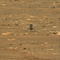 NASA's Ingenuity helicopter, captured by cameras aboard the Perseverance Mars rover on Monday after the mini-chopper completed the first powered, controlled flight on another planet | ASU / MSSS /JPL-CALTECH / NASA / VIA AFP-JIJI