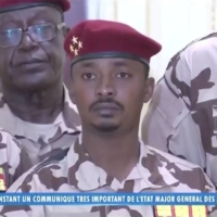 Mahamat Idriss Deby, also known as Mahamat Kaka, who was named interim president by a transitional council of military officers upon his father's death, attends a news conference in N'djamena on Tuesday. |  CHAD TV/REUTERS TV/ VIA REUTERS