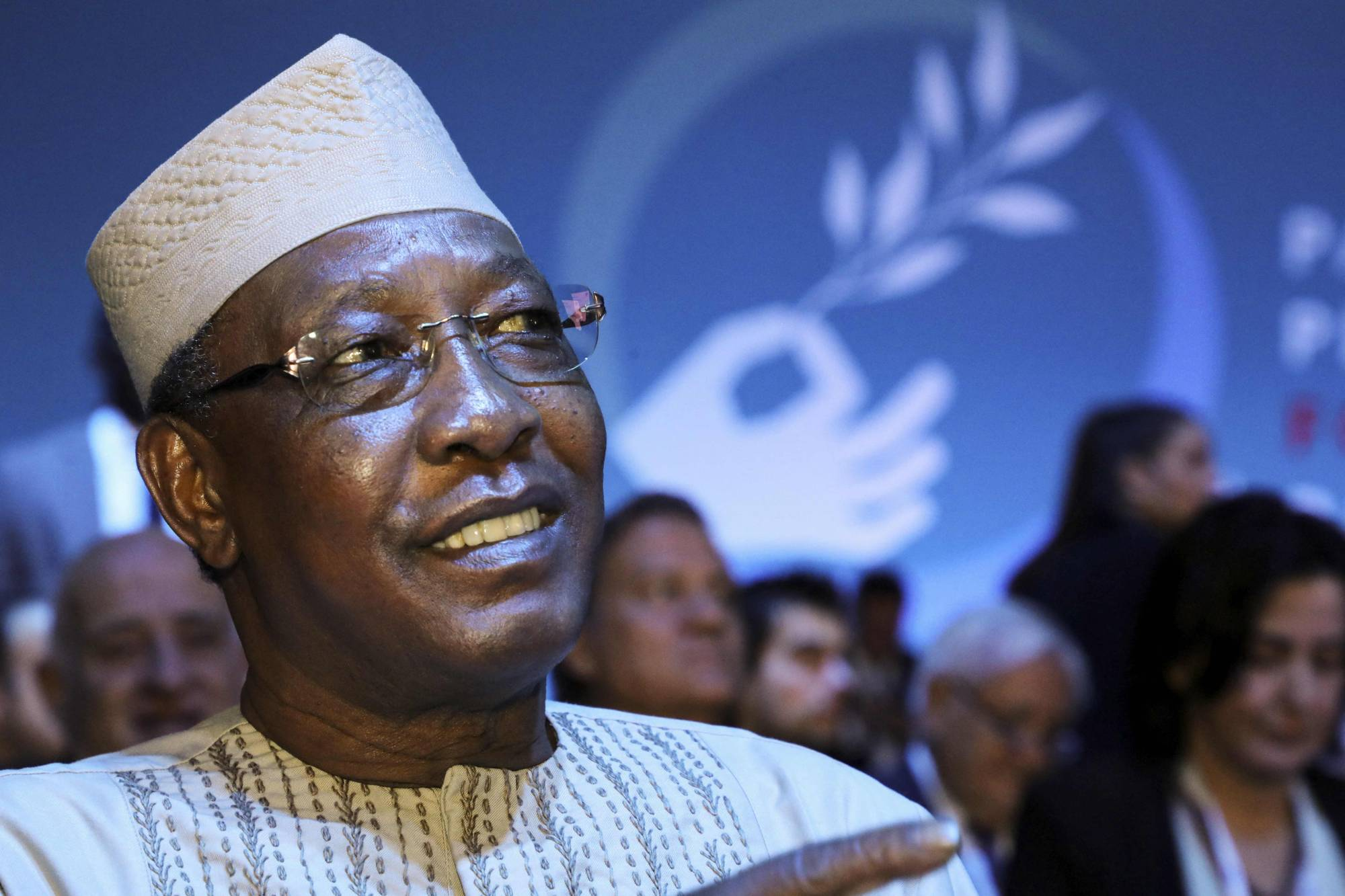 Chadian President Idriss Deby attends the plenary session of the Paris Peace Forum in November 2019. | POOL / AFP-JIJI