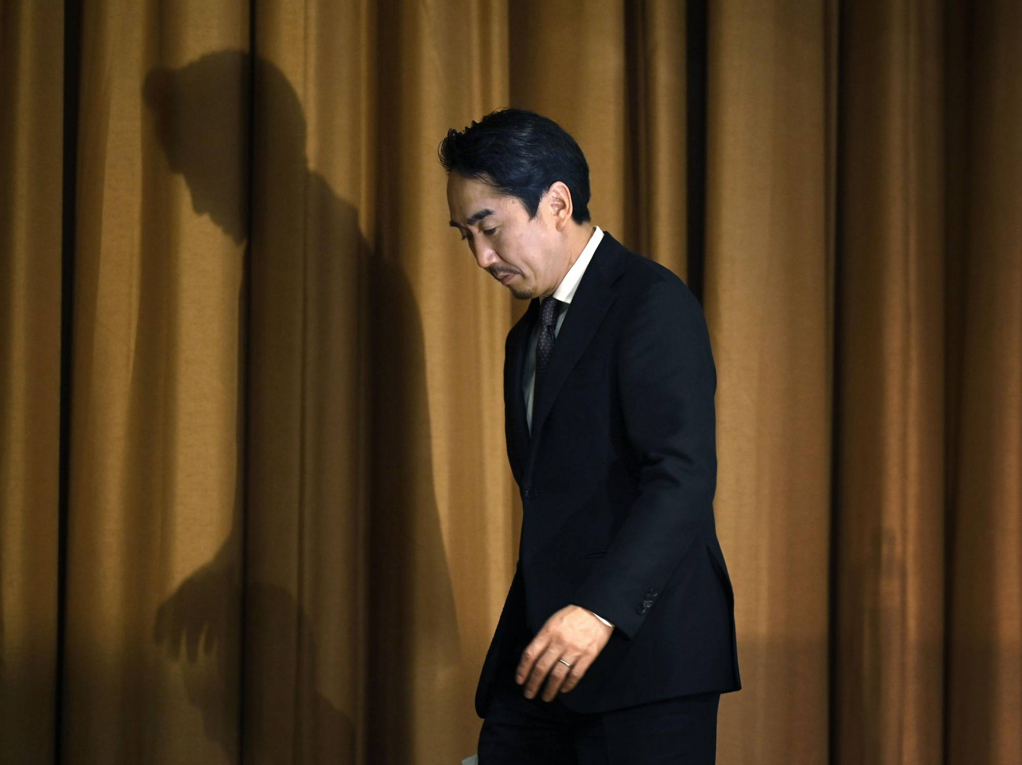 Line CEO Takeshi Idezawa at a news conference in March. Concerns have been raised over whether Japanese companies are taking privacy protection as seriously as they should. | KYODO