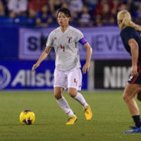 Japan's Saki Kumagai controls the ball in front of U.S. defender Becky Sauerbrunn during their match at the She Believes Cup in Frisco, Texas, on March 11, 2020. | USA TODAY / VIA REUTERS