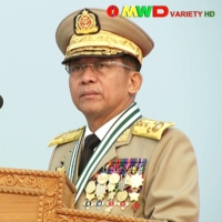 Myanmar's junta chief, Gen. Min Aung Hlaing, attends a parade marking Armed Forces Day in the capital, Naypyidaw, on March 27. | MYAWADDY TV / VIA AFP-JIJI
