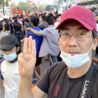Yuki Kitazumi, 45, was arrested and taken from his home in Myanmar's largest city Yangon last Sunday and is being held in prison for allegedly spreading 'fake news' after covering protests against the military that seized power in a February coup. | FACEBOOK / VIA KYODO
