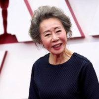 Youn Yuh-jung arrives at the 93rd Academy Awards at Union Station in Los Angeles on Sunday.  | POOL / VIA REUTERS