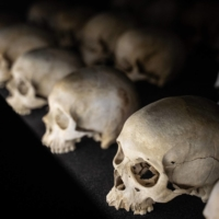 Victims' skulls are displayed at the Kigali Genocide Memorial in Kigali, Rwanda, on April 7. | AFP-JIJI