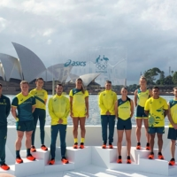 ustralian Olympians pose in front of the Sydney Opera House at the unveiling of the team uniforms for the 2020 Tokyo Olympics on March 31 in Sydney. | REUTERS