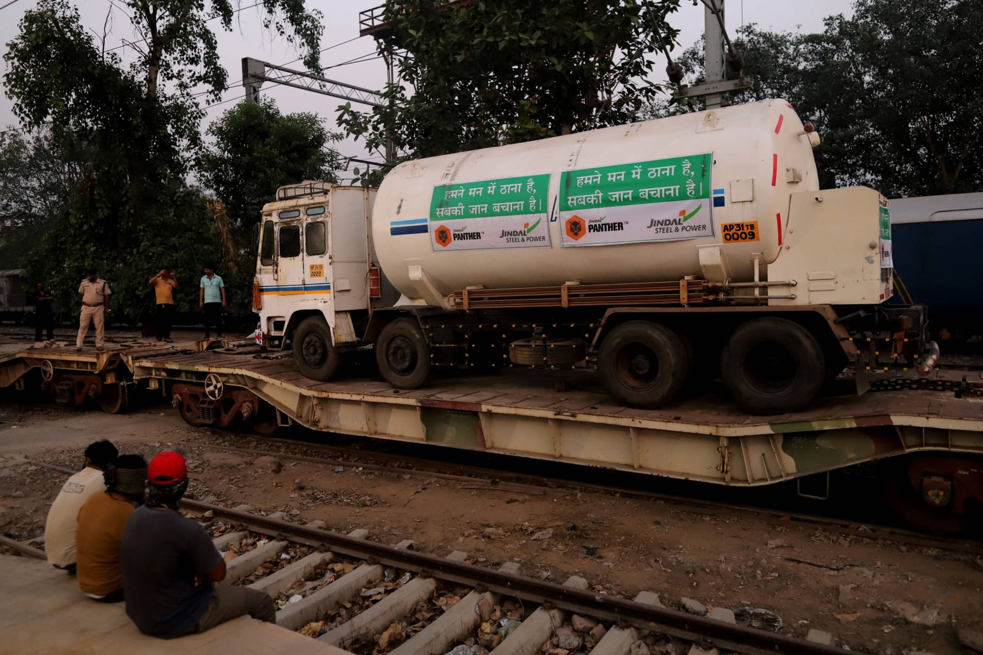 A medical oxygen tanker is delivered via the Oxygen Express train at Delhi Cantt railway station on Tuesday.   BLOOMBERG