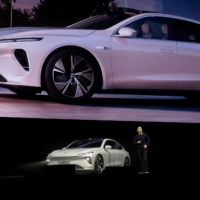 William Li, founder and chief executive officer of Chinese electric-vehicle maker Nio, unveils Nio's ET7 sedan at a product launch event in Chengdu, Sichuan province, in January. | REUTERS