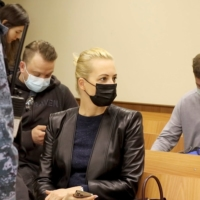 Yulia Navalnaya, wife of Russian opposition figure Alexei Navalny, attends a hearing in Moscow on Thursday to consider an appeal against an earlier court decision that found Navalny guilty of slander.    PRESS SERVICE OF BABUSHKINSKY DISTRICT COURT OF MOSCOW / VIA REUTERS