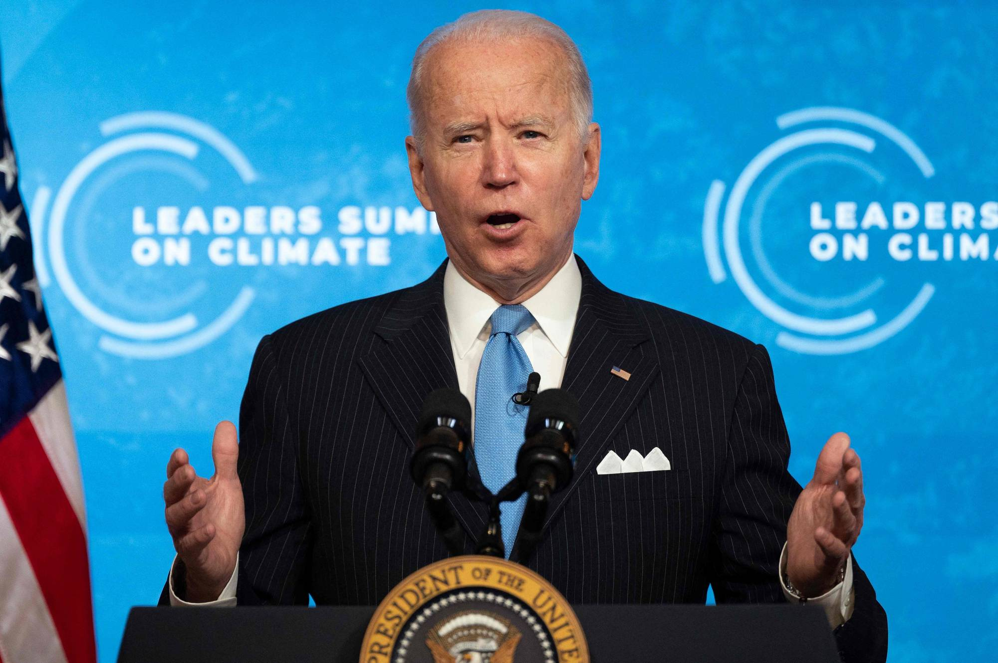 U.S. President Joe Biden delivers remarks during the virtual Leaders Summit on Climate from the White House on April 23. | AFP-JIJI