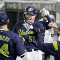 The Swallows' Munetaka Murakami is making a strong case for a spot on Japan's Olympic baseball team. | KYODO