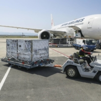 Cargo boxes containing the first Japan-allocated batch of Moderna Inc.'s COVID-19 vaccine are unloaded from a Japan Airlines plane upon its arrival from Belgium, at Kansai Airport in Osaka on Friday. | KYODO