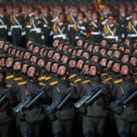 Troops march during a military parade to commemorate the 8th Congress of the Workers' Party in Pyongyang on Jan. 14.  | KCNA / VIA REUTERS