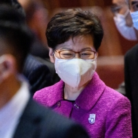 Hong Kong Chief Executive Carrie Lam (left) at an event last month | AFP-JIJI