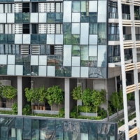 A sky garden in a tower of the South Beach complex. Offices and apartment blocks designed to be green are springing up all over the world as architects adapt structures to their natural surroundings.   BLOOMBERG