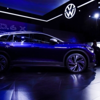 A Volkswagen ID.6 X is displayed ahead of the Shanghai Auto Show in April. | REUTERS
