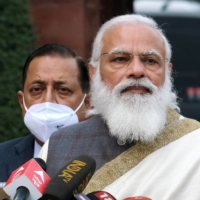 Indian Prime Minister Narendra Modi speaks during a news conference in New Delhi in January.  | BLOOMBERG