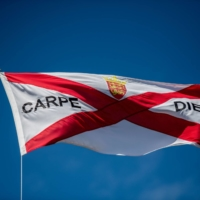 The national flag of Jersey outside a residential property near St. Helier | BLOOMBERG