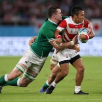Ireland's James Ryan in action with Japan's Yutaka Nagare during their match at the Rugby World Cup in in Shizuoka Prefecture in September 2019. | REUTERS