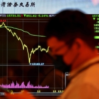 A man walks past a monitor showing a stock chart outside the Taiwan Stock Exchange in Taipei on Wednesday.    AFP-JIJI