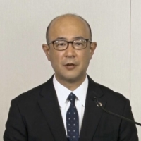 Toyota Chief Financial Officer Kenta Kon attends an online news conference for the automaker on Wednesday.   KYODO