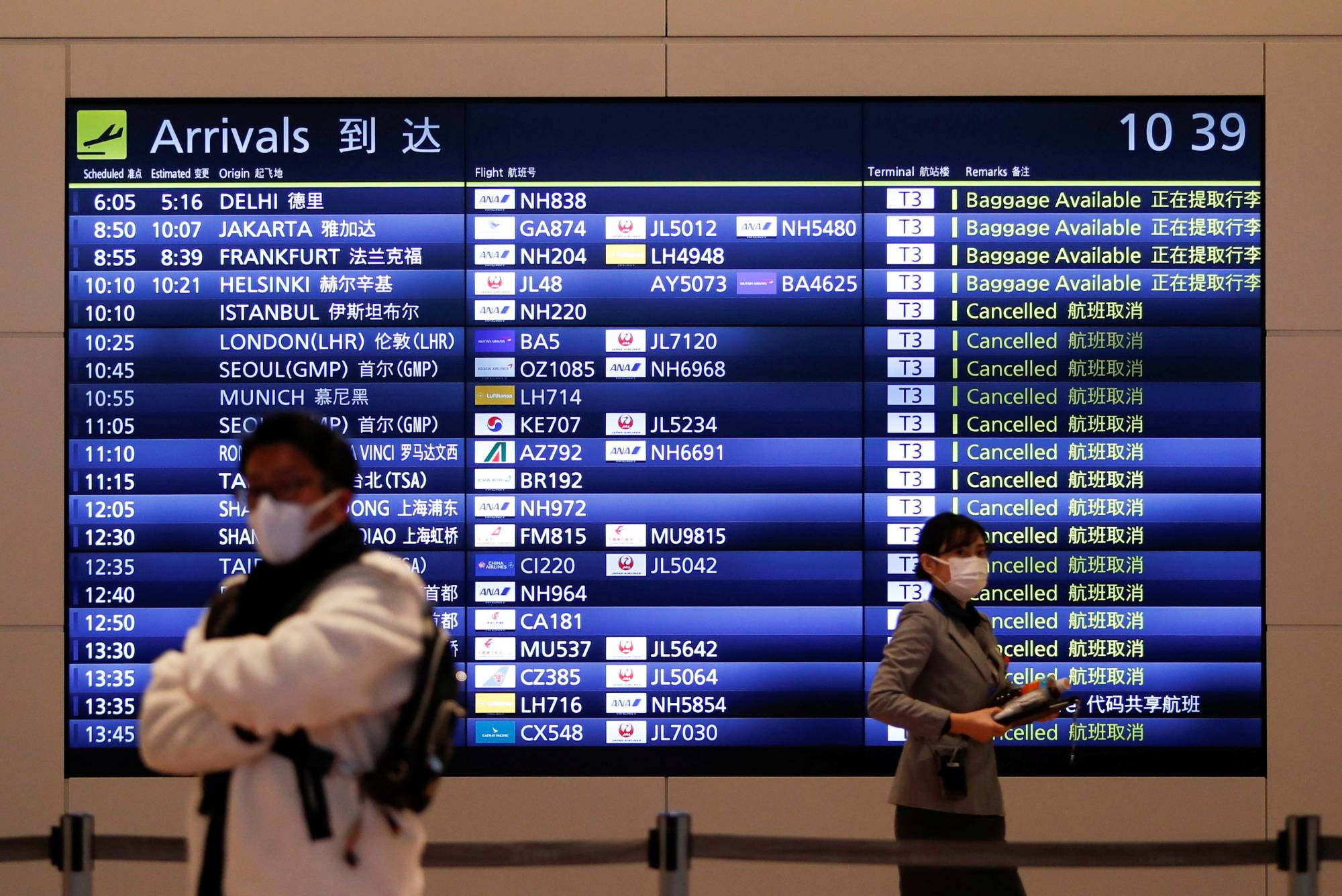 The international terminal at Tokyo's Haneda Airport. The government has decided to ban re-entry to Japan by foreign residents who have traveled to India, Nepal and Pakistan, amid an upsurge in COVID-19 cases in that region and concern over new variants of the coronavirus circulating there.   REUTERS