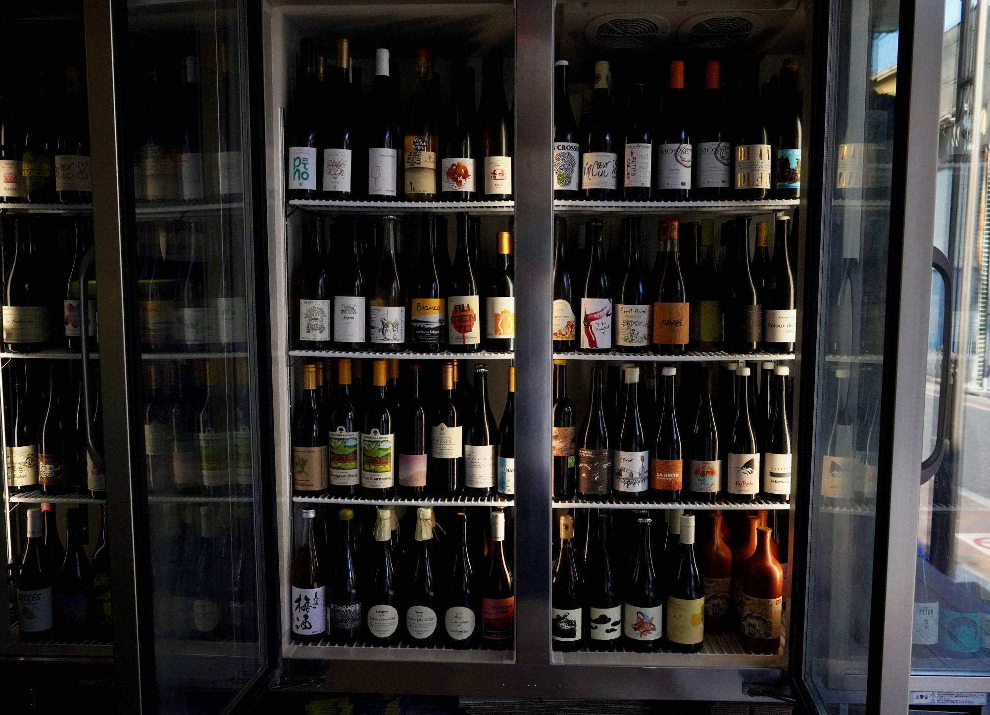 The expansive fridge at No. 502 stocks more than 500 different bottles of natural, low-intervention wine.   ROBBIE SWINNERTON