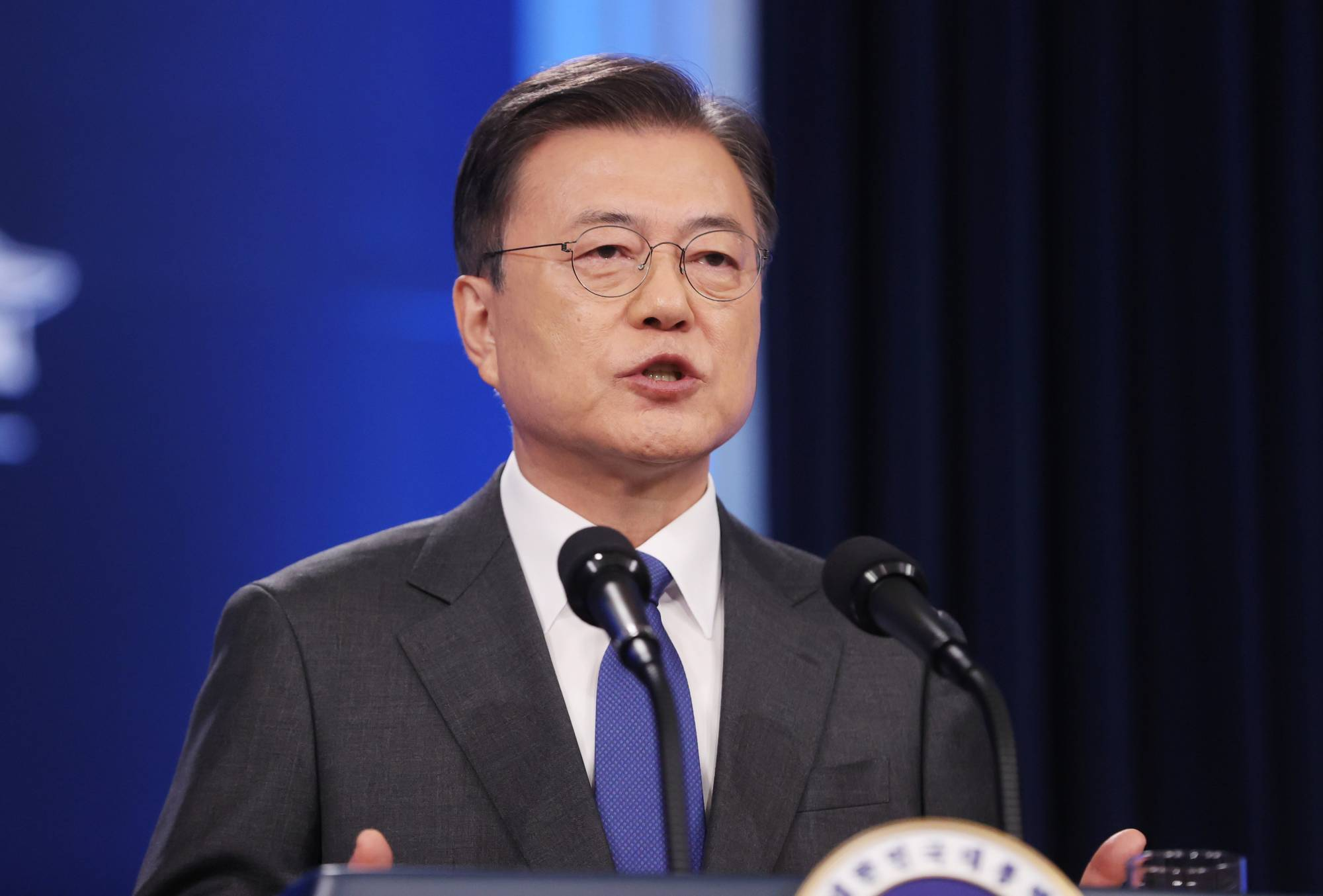 South Korean President Moon Jae-in delivers a speech marking the start of the final year in his five-year term at the Presidential Blue House in Seoul on May 10. | YONHAP / VIA REUTERS