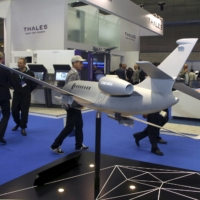 A model of the Dassault Falcon 2000 MRA aircraft in Doha.    REUTERS