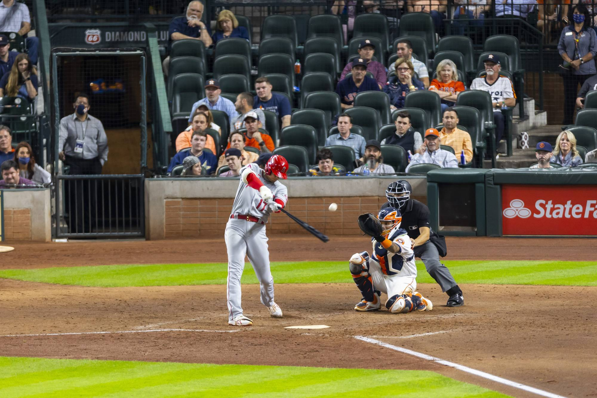 The Los Angeles Angels Shohei Ohtani fouls off a pitch in a game against the Houston Astros in Houston on Tuesday. Ohtani, dominating as a pitcher and a hitter, is a two-way player with Ruthian possibilities.   ANNIE MULLIGAN/THE NEW YORK TIMES