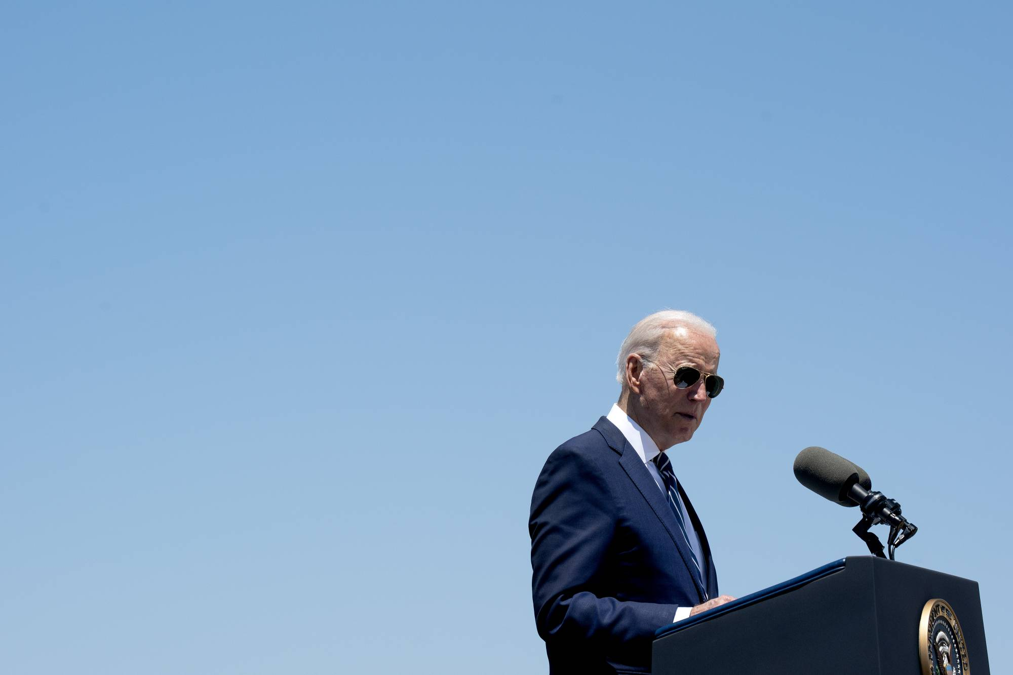 U.S. President Joe Biden delivers remarks on the American Jobs Plan in Lake Charles, Louisiana, on May 6.  | STEFANI REYNOLDS/THE NEW YORK TIMES