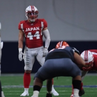 Les Maruo (44) features for Japan against the Spring League select team in a March 20, 2020, exhibition in Frisco, Texas. | COURTESY OF THE JAPAN AMERICAN FOOTBALL ASSOCIATION