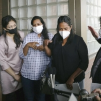 Family members of Ratnayake Liyanage Wishma Sandamali speak to the press on Monday after visiting officials at Nagoya Regional Immigration Services Bureau in Aichi Prefecture. | KYODO