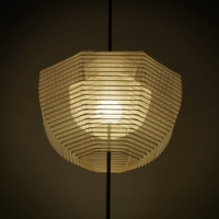 The Hyouri lamps designed by Nendo and made by Kojima Shouten are lined in silk to allow more light to pass through.    HIROSHI IWASAKI