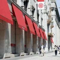 A Mitsukoshi department store in Tokyo's Nihombashi neighborhood is closed during the state of emergency in April 2020. | KYODO