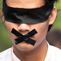 A demonstrator protests the military coup, in Yangon, Myanmar, in February.    REUTERS