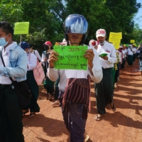 Teachers take part in a civil disobedience demonstration against the military coup in Dooplaya district, Myanmar, on May 13.    KNU DOOPLAYA DISTRICT / VIA AFP-JIJI