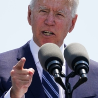 U.S. President Joe Biden speaks during the U.S. Coast Guard Academy commencement ceremony in New London, Connecticut, on Wednesday.  | REUTERS