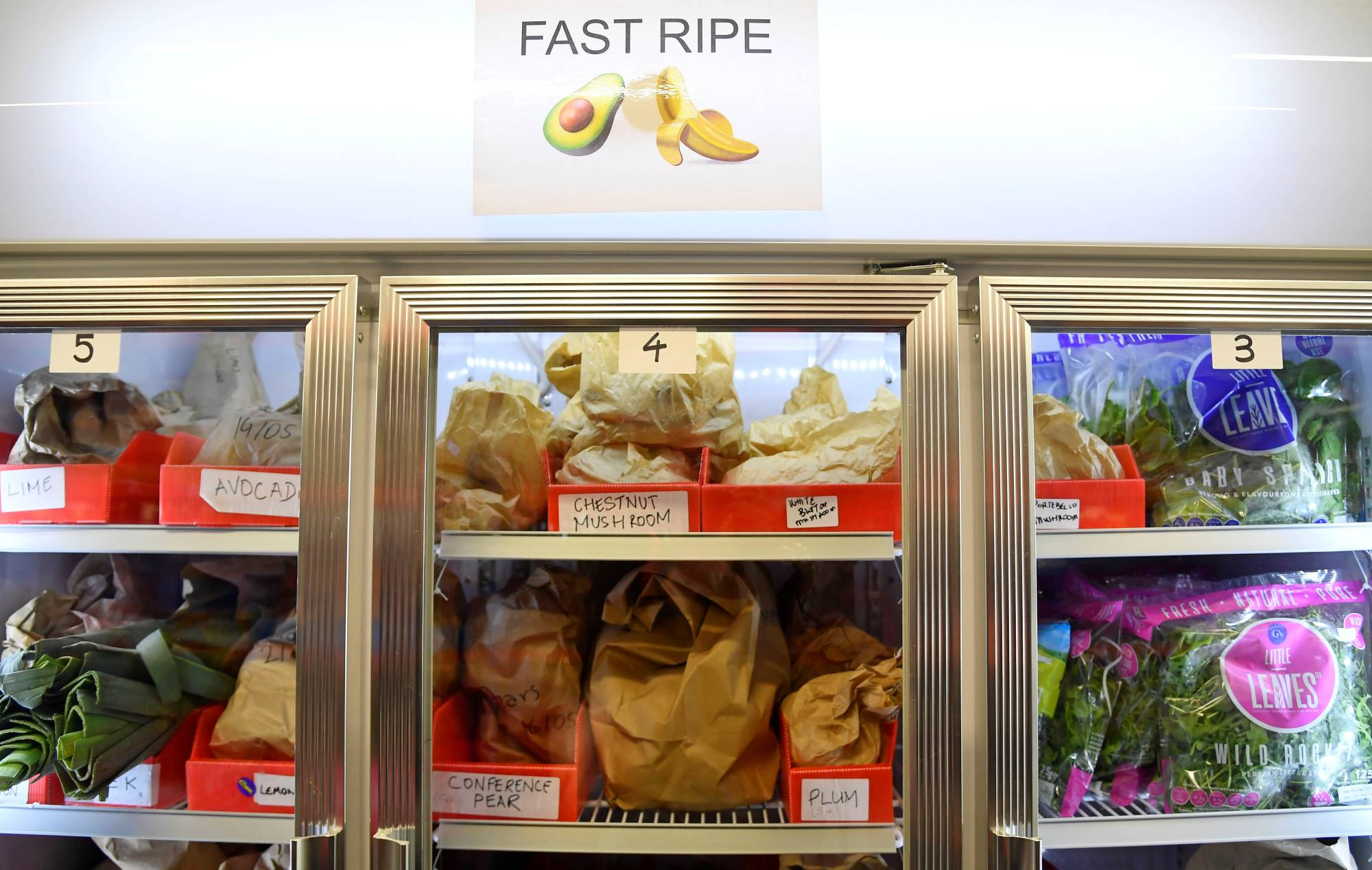 Stocks of fresh fruit and vegetables at the Lambeth depot of online supermarket Weezy | REUTERS