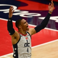 Wizards guard Russell Westbrook reacts after making a shot against the Pacers during the third quarter on Thursday in Washington.   USA TODAY / VIA REUTERS