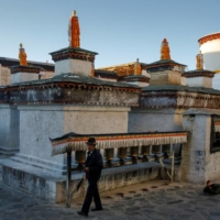 People prostrate and touch prayer drums at Tashi Lhunpo Monastery in Shigatse in China's autonomous region of Tibet.  | REUTERS