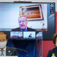 Tokyo 2020 CEO Toshiro Muto (left), Tokyo 2020 President Seiko Hashimoto and IOC Coordination Commission Chairman John Coates (on screen) hold a news conference after a three-day IOC Coordination Commission meeting in Tokyo on Friday.   POOL / VIA REUTERS