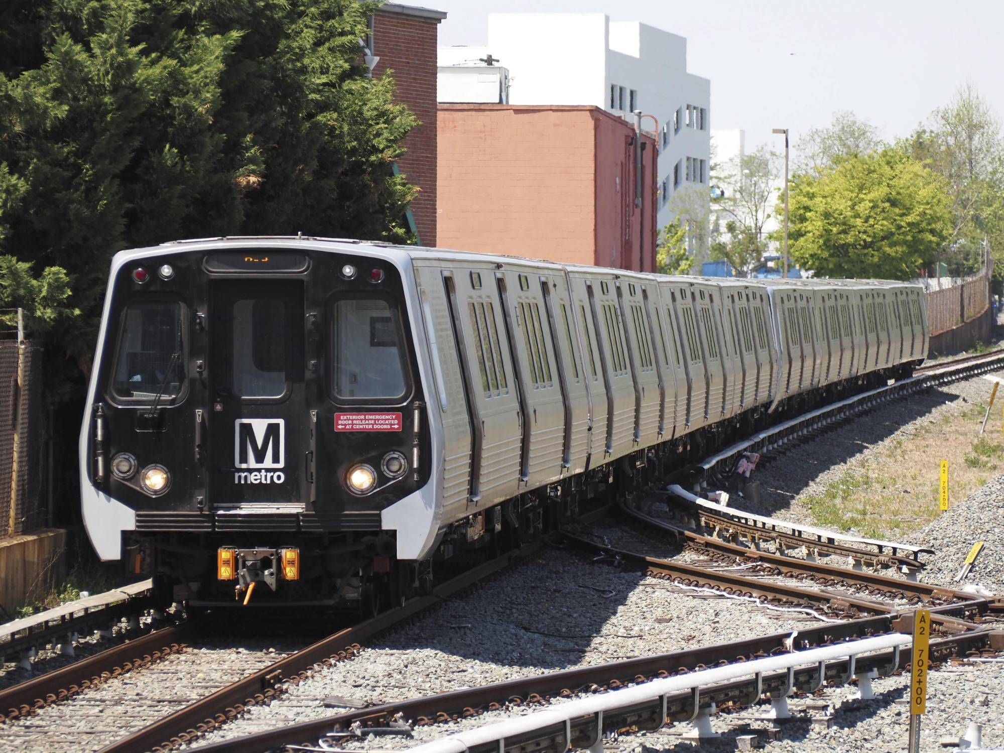 A train manufactured by Kawasaki Heavy Industries Ltd. in Maryland in April.   KYODO