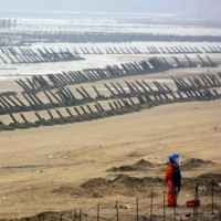 A soldier from an mine disposal unit stands in front of anti-landing barricades along the coast in Kinmen, Taiwan, in May 2009.   REUTERS