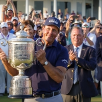 Phil Mickelson lifts the Wanamaker Trophy after winning the PGA Championship in Kiawah Island, South Carolina, on Sunday.   USA TODAY / VIA REUTERS