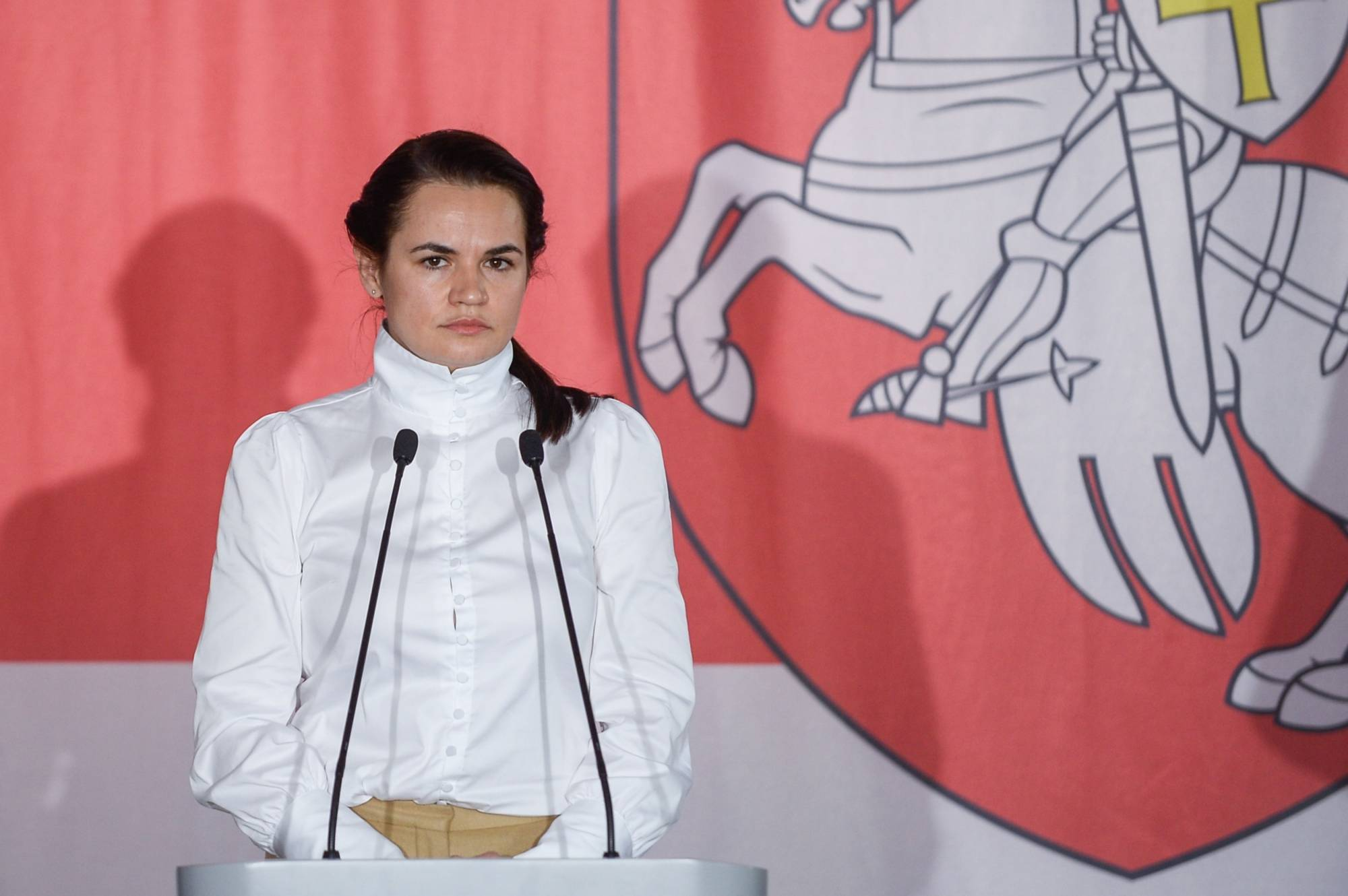 Exiled Belarus opposition leader Sviatlana Tsikhanouskaya attends a meeting at the Belarus house in Warsaw, Poland, in September 2020.  | GETTY IMAGES / VIA BLOOMBERG