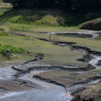 The dried reservoir bed at the Second Baoshan Reservoir in Hsinchu, Taiwan, in April   BLOOMBERG
