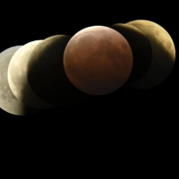 A composite photo shows the lunar eclipse as seen from Hachinohe, Aomori Prefecture, on Wednesday. The six frames were taken from 7:36 to 9:29 p.m., with the Earth's shadow visible in the center.    KYODO