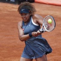 Naomi Osaka, seen in action during the Italian Open on May 12, has never reached the second week at the French Open.   REUTERS